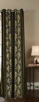 India Furnish Polyester Green Floral Eyelet Door Curtain 213 Cm In Height, Single Curtain