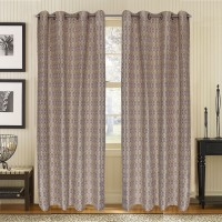 S9home By Seasons Polyester Beige Geometric Eyelet Long Door Curtain 274.32 Cm In Height, Pack Of 2