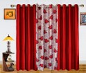 Dekor World Floral Mith With Solid Door Curtain - Pack Of 3