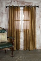 Marigold Polyester Yellow Self Design Eyelet Long Door Curtain 228.6 Cm In Height, Single Curtain