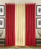 HomeZaara Polyester Maroon, White Door Curtain 213.36 Cm In Height, Pack Of 3