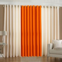 Pindia 7ft Faux Silk Plain Door Curtain (Pack Of 3)