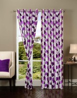 Brand Decor Polycotton Multicolor Printed Window Curtain 214 Cm In Height, Pack Of 2