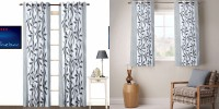 Fabutex Polycotton Grey Printed Eyelet Window & Door Curtain 213 Cm In Height, Pack Of 4