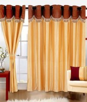 Elegence Polyester Multicolour Plain Curtain Window Curtain 150 Cm In Height, Pack Of 3