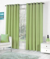 Home Fashion Gallery Polyester Light Green Plain Eyelet Long Door Curtain 274.32 Cm In Height, Pack Of 2