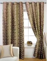 Story @ Home Jacquard Brown, Beige Geometric Eyelet Door Curtain 213.36 Cm In Height, Single Curtain