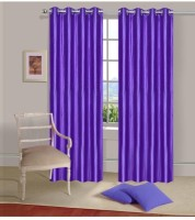 Sajaawat Polyester Shades Of Purple Plain Eyelet Door Curtain 213 Cm In Height, Pack Of 2