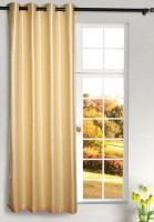 Homefab India Polyester Beige Plain Eyelet Curtain 270 Cm In Height, Single Curtain