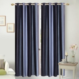 REDHOT Polyester Black Abstract Eyelet Door Curtain