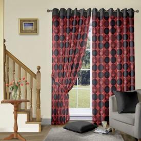 Vorhang Jacquard Red Polka Eyelet Long Door Curtain