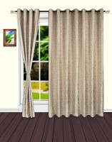 S9home By Seasons Polyester Grey Geometric Eyelet Door Curtain 260 Cm In Height, Pack Of 2