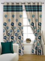 Story @ Home Polyester Beige Floral Eyelet Window Curtain 152 Cm In Height, Pack Of 2