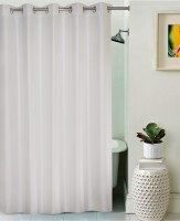 Lushomes Polyester White Self Design Eyelet Shower Curtain 210 Cm In Height, Single Curtain