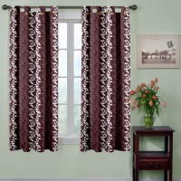 Trendy Home Polyester Brown Printed Tab Top Window Curtain 153 Cm In Height, Pack Of 2