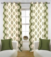 Kings Polycotton Green Floral Eyelet Door Curtain 84 Inch In Height, Pack Of 5