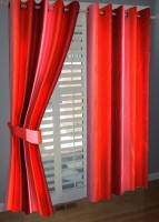 BNA Decor Polyester Red Plain Eyelet Door Curtain 214 Cm In Height, Pack Of 2