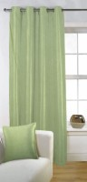 Fabutex Polyester Green Solid Eyelet Door Curtain 210 Cm In Height, Single Curtain