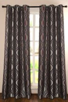 Deco Window Polyester Purple Floral Eyelet Door Curtain 228.6 Inch In Height, Single Curtain