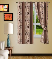 Story @ Home Polyester Brown Printed Eyelet Window Curtain 46 Cm In Height, Pack Of 2
