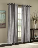 Homec Polyester Silver Self Design Eyelet Door Curtain 84 Inch In Height, Single Curtain
