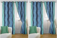 Story @ Home Polyester Light Blue Geometric Eyelet Door Curtain 215 Cm In Height, Pack Of 4