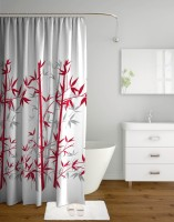 Tangerine Polyester Red, Grey Printed Curtain Shower Curtain 200 Cm In Height, Single Curtain
