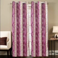 Smart Home Polyester Multicolor Geometric Eyelet Door Curtain 210 Cm In Height, Single Curtain
