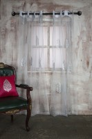 Marigold Polyester White Printed Eyelet Door Curtain 213.36 Cm In Height, Single Curtain