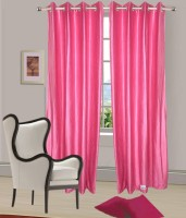 Home Fashion Gallery Polyester Pink Plain Eyelet Window Curtain 152.4 Cm In Height, Pack Of 2
