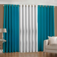 Pindia Polyester Aqua, White Door Curtain 183 Cm In Height, Pack Of 3