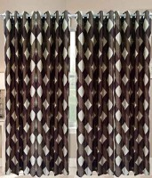 Home Fashion Gallery Polyester Brown Geometric Eyelet Window Curtain 152.4 Cm In Height, Pack Of 4