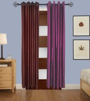 Home Fashion Gallery Polyester Brown, Purple Plain Eyelet Window Curtain 152.4 Cm In Height, Pack Of 4
