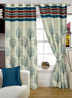 Story @ Home Jacquard Window Curtain (Single Curtain, 23 Inch/60 Cm In Height, Blue, Red)