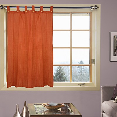 Kings Polycotton Orange Floral Tab Top Door Curtain (210 cm in Height, Single Curtain)