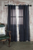 Marigold Polyester Dark Blue Self Design Eyelet Long Door Curtain 228.6 Cm In Height, Single Curtain