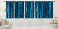 Stella Creations Polyester Light Blue Printed Eyelet Window Curtain 152 Cm In Height, Pack Of 5