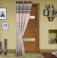 Story@Home Jacquard Brown Printed Eyelet Door Curtain 215 Cm In Height, Single Curtain