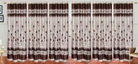 Stella Creations Polyester Brown Printed Eyelet Long Door Curtain