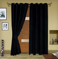 Story @ Home Jacquard Black Printed Eyelet Door Curtain 215 Cm In Height, Pack Of 2