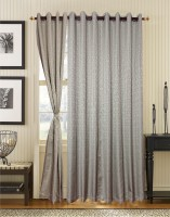 S9home By Seasons Polyester Grey Geometric Eyelet Long Door Curtain 274.32 Cm In Height, Pack Of 2