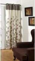@home Polycotton Brown Printed Ring Rod Long Door Curtain 213.36 Cm In Height, Single Curtain