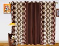 Dekor World Double Damask Long Door Curtain (Pack Of 3)