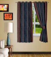 Story @ Home Polyester Brown Printed Eyelet Window Curtain 118 Cm In Height, Pack Of 2