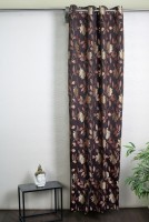 Ferrari Polyester Brown, Red Door Curtain 213.36 Inch In Height, Single Curtain