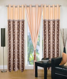 Home Sazz Polyester Multi-Color Self Design Eyelet Window Curtain