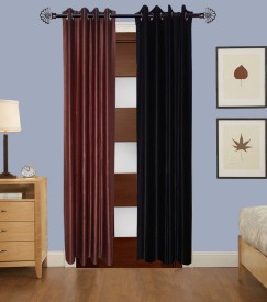 Home Fashion Gallery Polyester Brown, Black Plain Eyelet Window Curtain