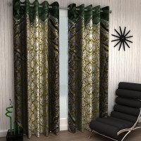 Home Sizzler Polyester Green Damask Eyelet Window Curtain 150 Cm In Height, Pack Of 2