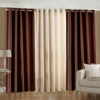 Pindia 6ft Faux Silk Plain Door Curtain (Pack Of 3)