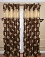 Homefab India Designer Checks Brown Long Door Curtain